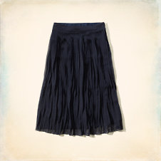 West Street Pleated Chiffon Midi Skirt