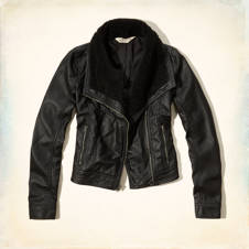 Seaside Reef Faux Leather Moto Jacket
