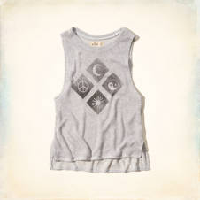 Drapey Knit Symbol Graphic Tank