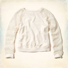 Huntington Beach Lace Sleeve Sweatshirt