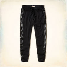 Hollister Fleece & Faux Leather Joggers