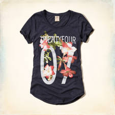 Floral Number Graphic T-Shirt