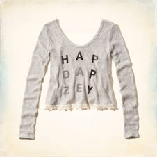 Happy Daze Drapey Knit Graphic T-Shirt