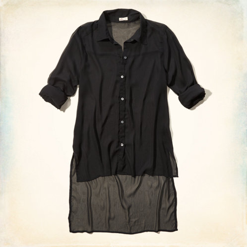 High Low Shirts For Girls High-low Button-up Shirt