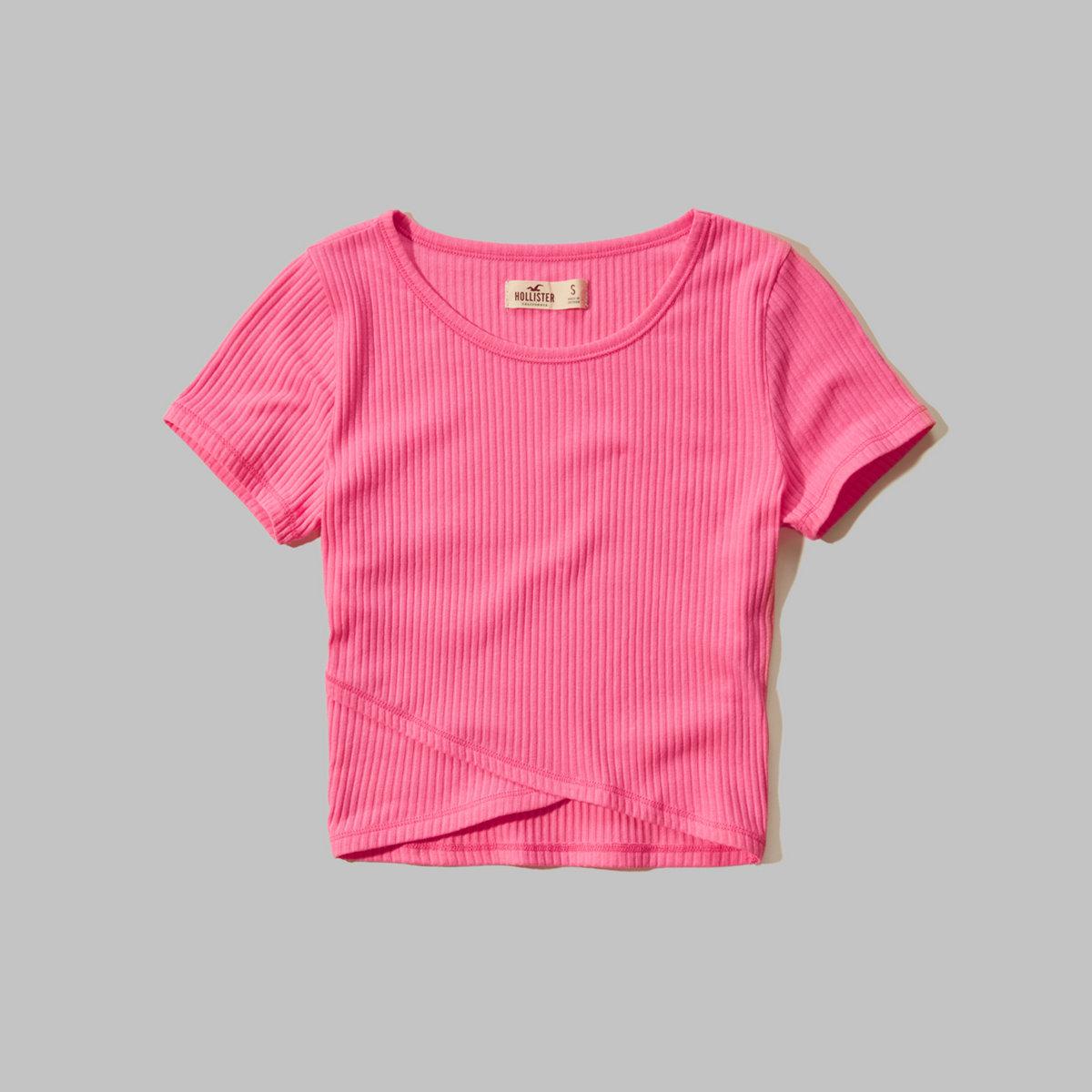 Slim Ribbed Cross-Over T-Shirt