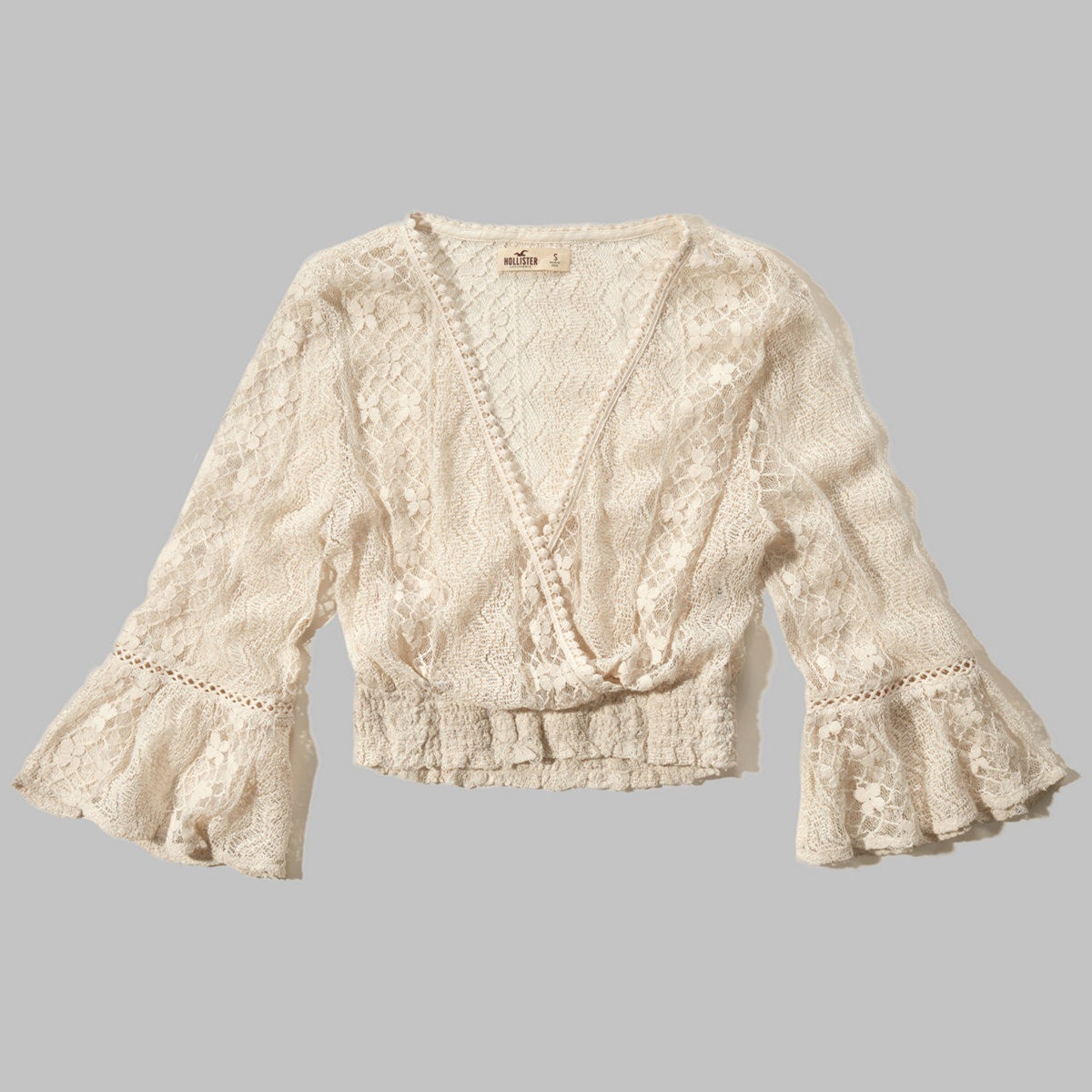 Lace Wrap Front Peasant Blouse