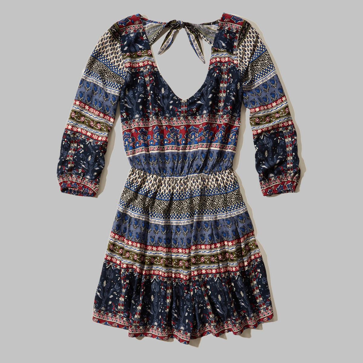Patterned Peasant Dress