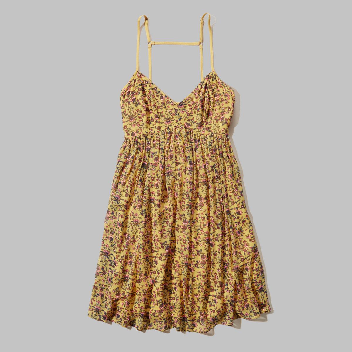 Patterned Chiffon Babydoll Dress