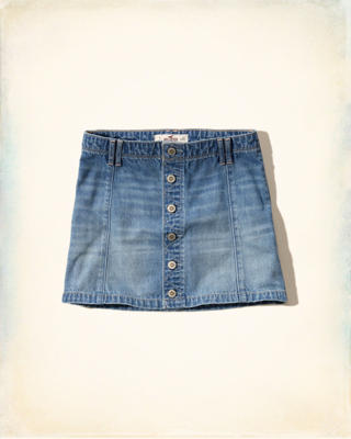 Medium Wash Denim A-Line Skirt