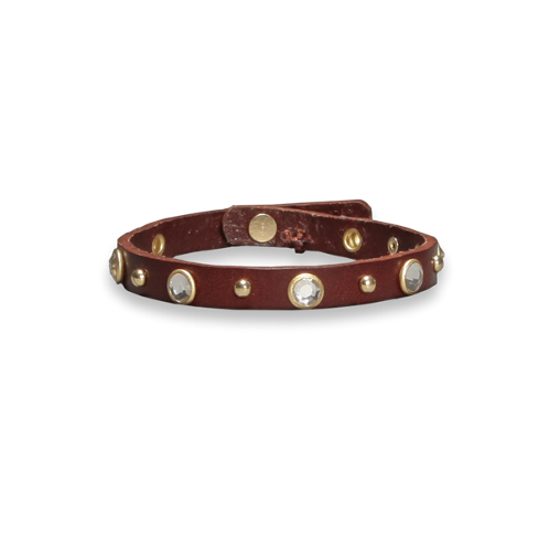 girls jeweled leather bracelet