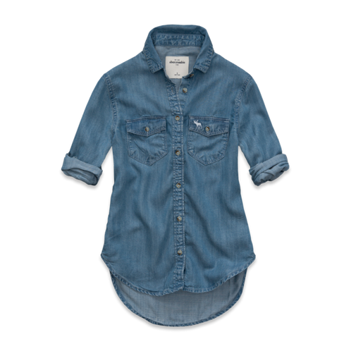 DELETE a&f tech taylor denim shirt