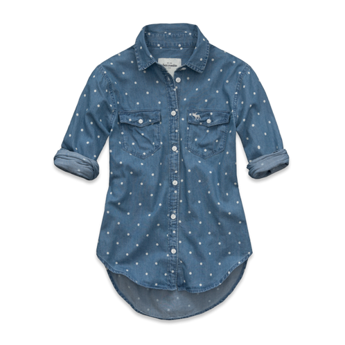 tops kirstie dot denim shirt