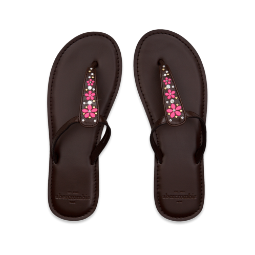 girls neon embellished flip flops