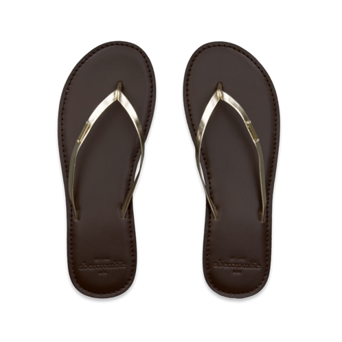 metallic shine flip flops