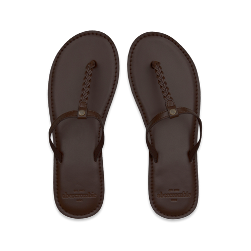 girls leather flip flops