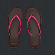 girls vintage leather flip flops