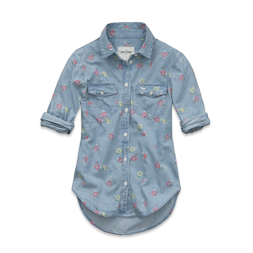 girls alana floral chambray shirt