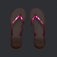 girls metallic shine flip flops