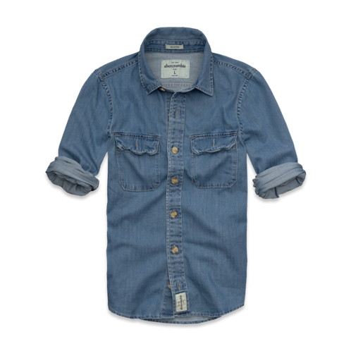guys slant rock denim shirt