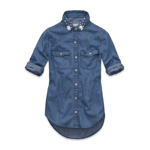 girls lucy shine collar denim shirt