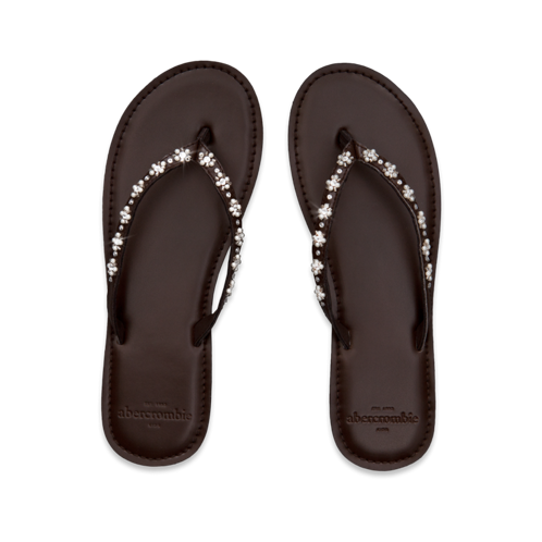 girls pearl embellished flip flops