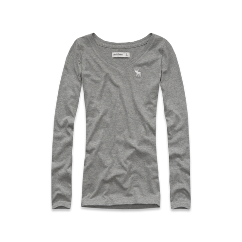 featured items solid long sleeve v-neck tee