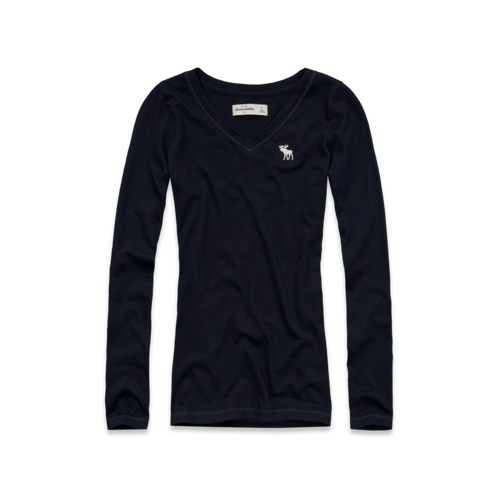 girls solid long sleeve v-neck tee
