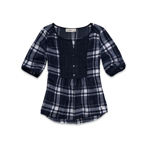 girls pintucked plaid top