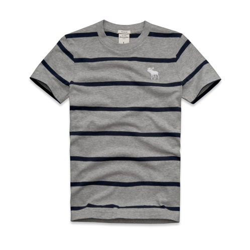 guys striped crew tee