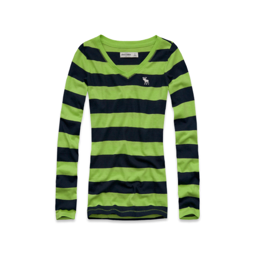 tops striped long sleeve v-neck tee