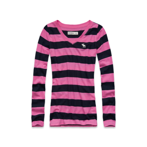 featured items striped long sleeve v-neck tee