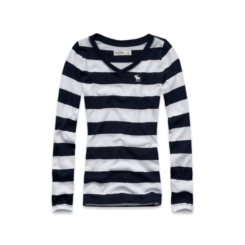 girls striped long sleeve v-neck tee