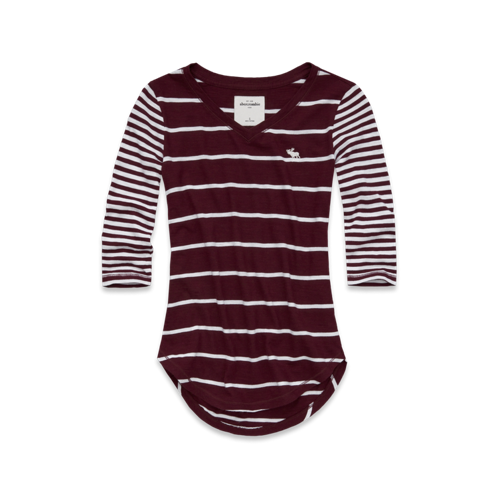 girls mixed stripe tee