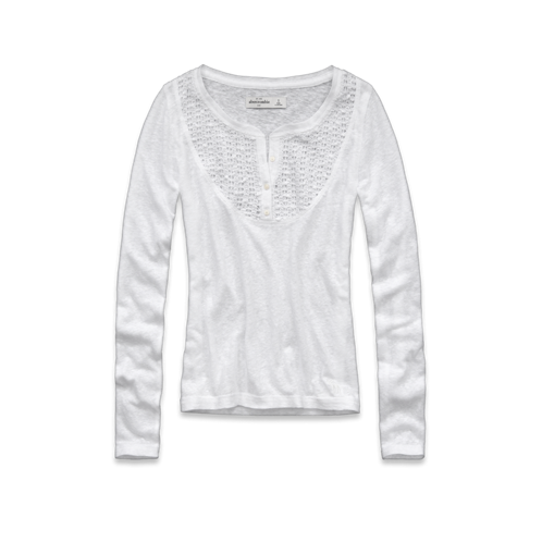 tops long sleeve shine lace henley
