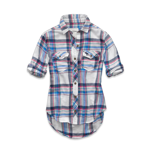 girls drapey plaid shirt