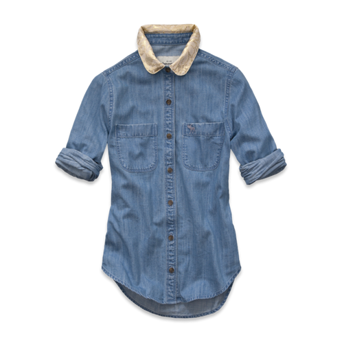 girls jacquard denim shirt