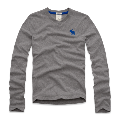 guys long sleeve vneck tee