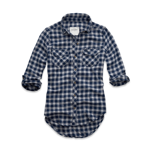 tops classic shine plaid shirt