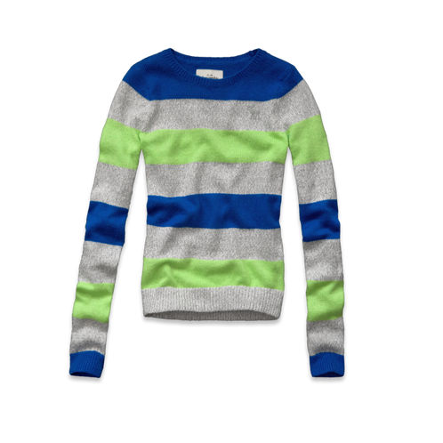 girls shine striped crew sweater