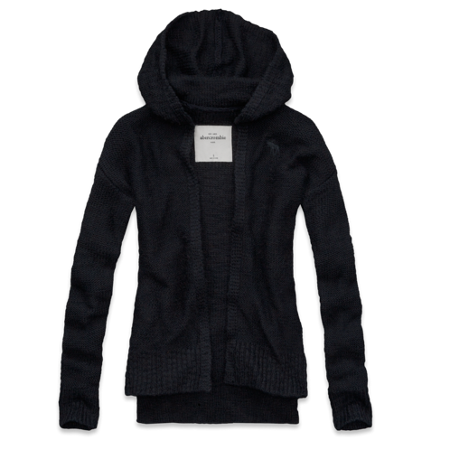 tops hooded non closure sweater