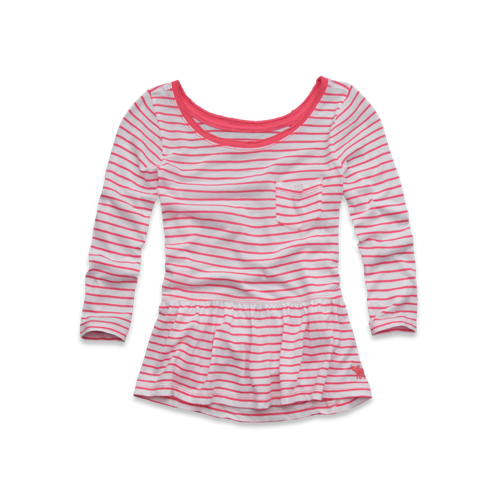 girls striped easy peplum top