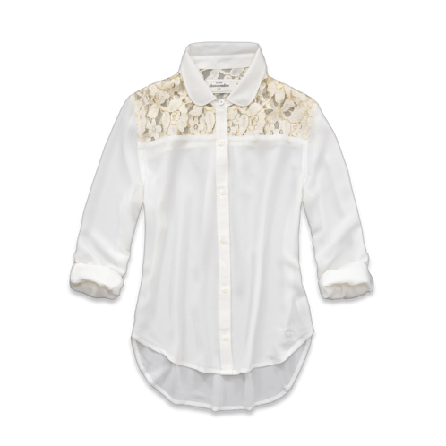 girls chiffon and lace shirt