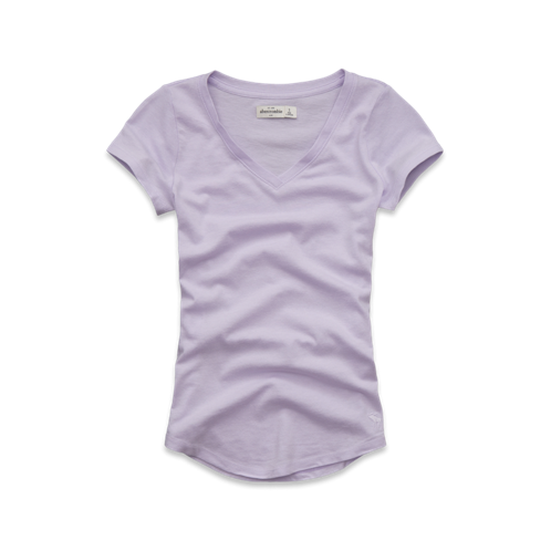girls solid short sleeve v-neck tee