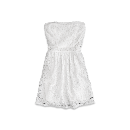girls strapless lace dress