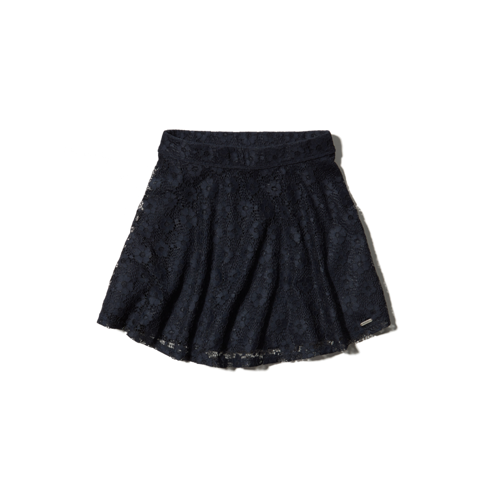 girls natural waist lace skater skirt