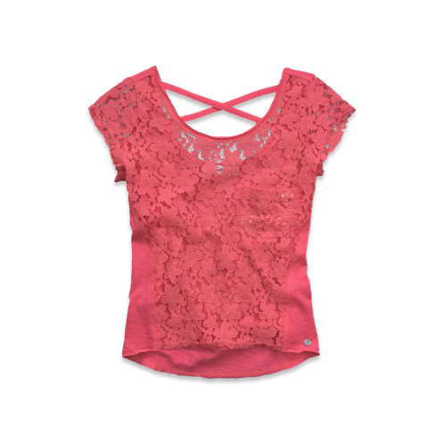 girls shining lace tee