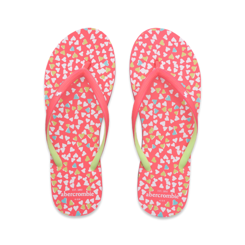 girls cute print flip flops