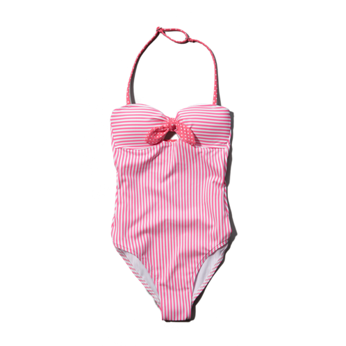 girls striped one-piece swim suit