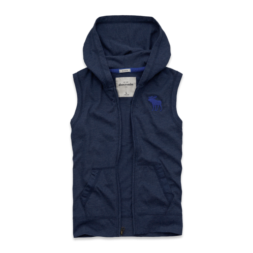 guys sleeveless hooded tee