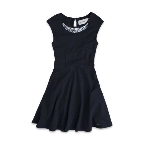 girls sparkly necklace skater dress